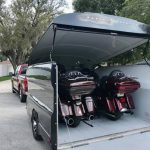 bikes in trailer, motorcycle trailer, tie down